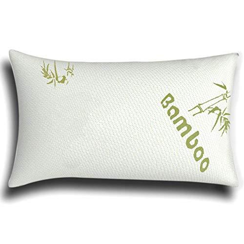 The Bamboo Pillow Almohada Cervical de virutas de Espuma de Memoria y bambú en Blanco - Almohada viscoelástica para Confort Fresco y firmeza del Cuello - Almohada ortopédica hipoalergénica - 1x Pack
