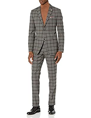 Original Penguin Men's Slim fit, 2pc Suit with Unfinished Bottom Hem, Medium Grey Plaid, 44 Short from Original Penguin