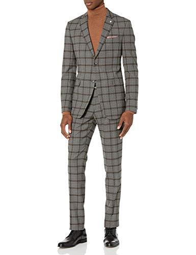Original Penguin Men's Slim fit, 2pc Suit with Unfinished Bottom Hem, Medium Grey Plaid, 46 Regular