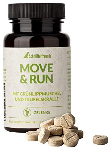 Schnüffelfreunde Move & Run I Dog Joint Supplements Tablets for Joints and Bones - Nutritional Supplement for Dogs - With Green-lipped Mussel, Willow Bark, MSM, Devil's Claw - Made in Germany