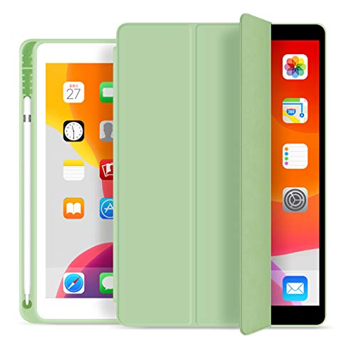 ZOYU iPad 9.7 Inch 2018/2017 Case with Pencil Holder,Ultra-thin and Lightweight Smart Trifold Stand Protective Cover,TPU Soft Silicone Magnetic Auto Sleep/Wake for iPad 5th/6th Generation (Green)