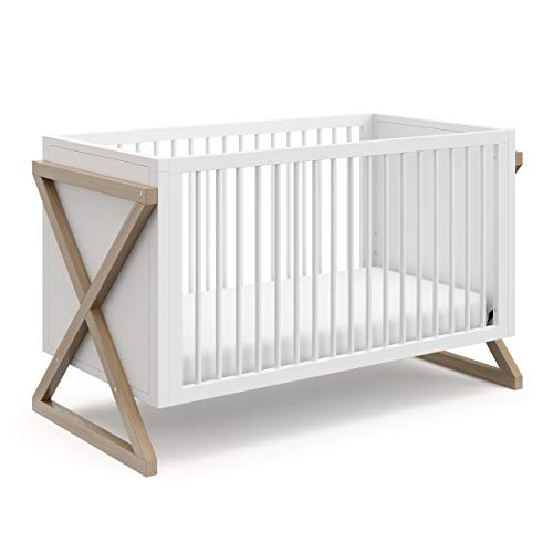 Storkcraft Equinox 3-in-1 Convertible Crib (Vintage Driftwood) – Easily Converts to Toddler Bed and Daybed, 3-Position Adjustable Mattress Support Base, Modern Two-Tone Design for Contemporary Nursery