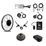 RICETOO Electric Bicycle 48V 1000W Rear Rotate Wheel Brushless Gearless Hub Motor 26inch With KT-LCD8S Display E-bike Motor Wheel Conversion Kit