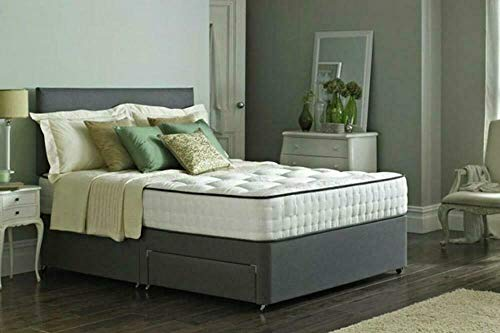 Home Furnishings UK 4ft grey suede base 4 draws+4ft Memory Collection Mattress with Black trim+4ft 20' Grey suede Headboard