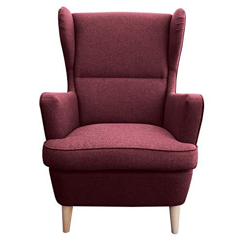 myHomery Sessel Lena Webstoff modern - Ohrensessel gepolstert – Polsterstuhl für Esszimmer & Wohnzimmer - Lounge Sessel mit Armlehne - Bordeaux