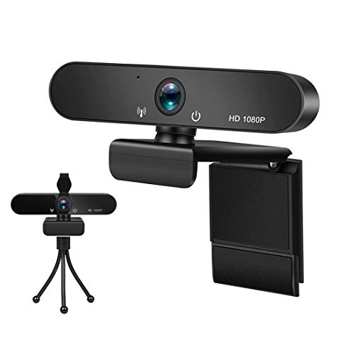 1080p Webcam, Full HD USB Computer Camera with Stereo Microphones, Bracket, Privacy Cover, High Dynamic Range for PC/Laptop Video Calling & Recording