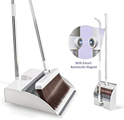 Broom and Dustpan Combo Set with Magnetic Suction