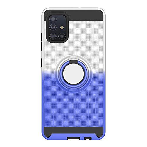 The Grafu Hülle für Galaxy A51, Silikon TPU + Hart PC 2 in 1 Handyhülle, 360 Grad Ring Ständer Schutzhülle für Samsung Galaxy A51, Silber + Blau
