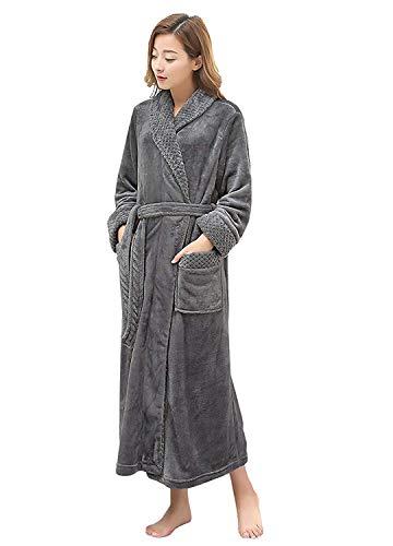 PUTUO Peignoir de Bain Femme Peignoir en Eponge Microfibre, Femme Robe de Chambre Longue Hiver Chaud (Gris, L/XL),Gris,XL