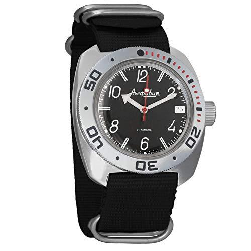 Vostok Militar ruso Diver para hombre de anfibios Amphibia Reloj de pulsera Negro Nailon # 71909