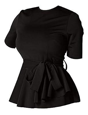 Ezcosplay Women's Short Sleeve Waist-Tie Tops Solid Loose Fit T-Shirt Blouse Black