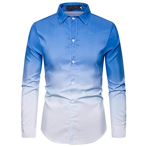 DerDer Men's Daily Casual Gradient Color Men's Lapel Long-Sleeved Shirt Blue