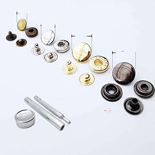 25 juegos de Metal sin costura broche de presión botón de presión Popper Stud bolsa de cuero ropa chaqueta reparación remache DIY