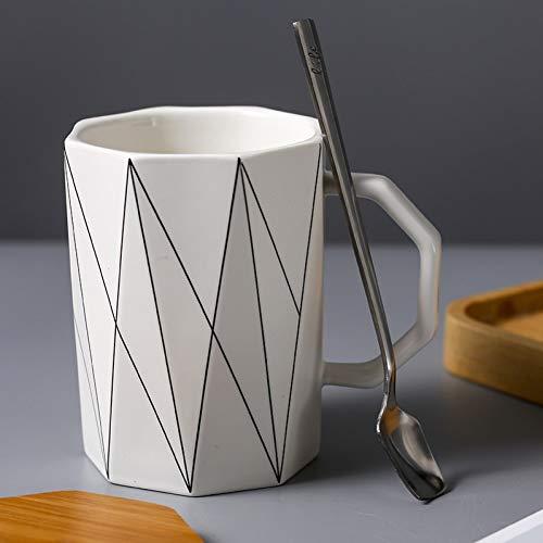 N/ A Kreative Matte geometrische Tasse mit Bambusdeckel Metalllöffel, Mikrowelle Milchbecher Linie Keramikbecher Tassen Home Office Drinkware 400ml