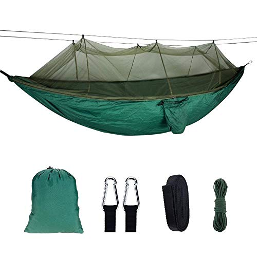 KPTHKW Hamaca 1-2 Persona portátil al Aire Libre mosquitero Hamaca 210t Nylon Anti-Mosquito Hamaca Colgando Hamaca con mosquitero para Patio, Patio, Viaje, Playa (Color : Dark Green)