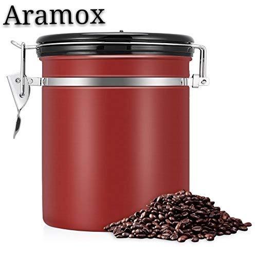 Bote para Café, EECOO Tarro de café 1.5L Bote Hermético de Acero Inoxidable Perfecto para Evitar la Oxidación del Café y la Aparición de Aromas Extraños, caucho sellado al vacío-Rojo