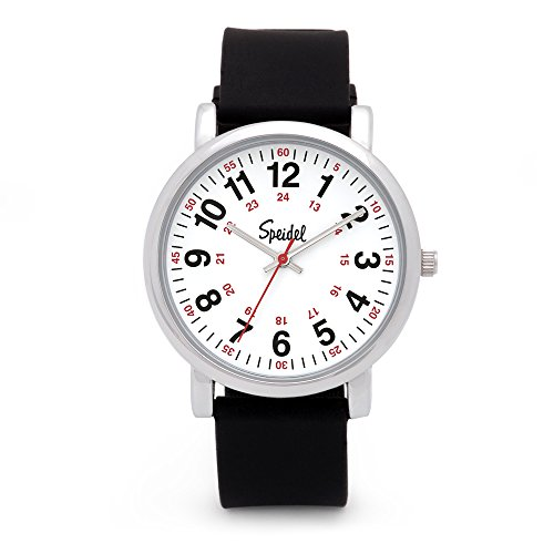 Speidel Scrub Watch for Medical Professionals with Black Silicone Rubber Band - Easy to Read Timepiece with Red Second Hand, Military Time for Nurses, Doctors, Surgeons, EMT Workers, Students and More