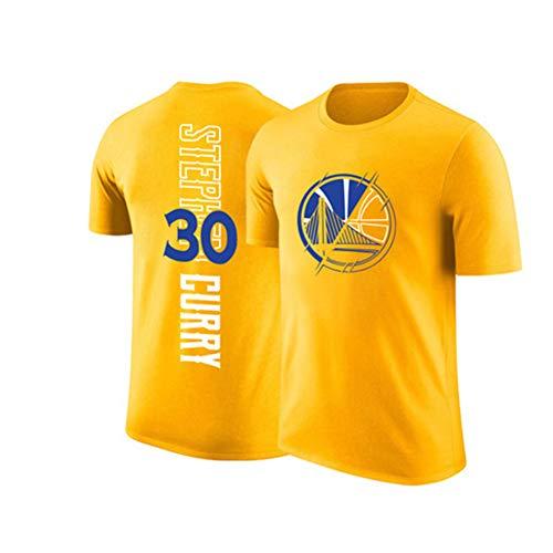 Camiseta de Manga Corta para Hombre Golden State Warriors # 30 Stephen Curry Uniforme de Baloncesto, Camiseta de fanáticos para Hombres y niños para el Ocio y la Competencia.-Yellow-M