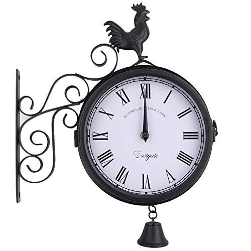 crazerop Doppelseitig Schmiedeeisen Gartenuhr Wetterfest Garten Uhr, Antik Wanduhr Outdoor Uhren Mit Hahnglockenform, Perfekte Gartendekoration