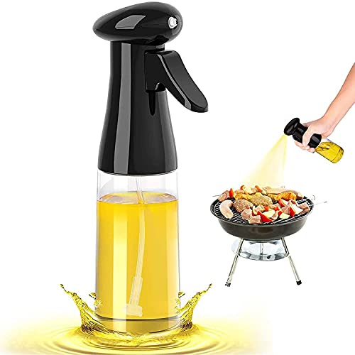 Oil Sprayer for Cooking, 7oz/210ml Olive Oil Spray Bottle Portable Olive Oil Spray BPA Free Oil Dispenser Food Grade Suitable for Baking, BBQ, Salad, Frying Grilling Roasting (Black)