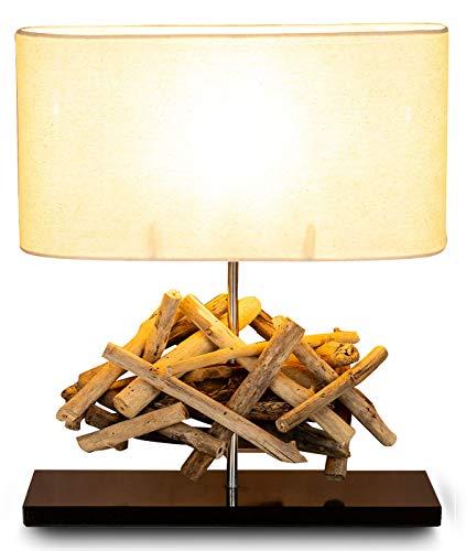Tischlampe Höhe 42cm Treibholz Teakholz Tischleuchte Holz Lampe Leuchte Naturholz Unikat Tischdeko Holzdeko Treibholzlampe