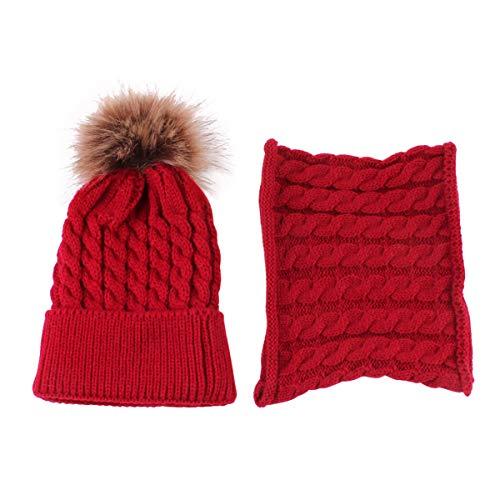ROSEBEAR Gorro para bebé recién nacido, gorro de punto cálido de invierno, gorro para bebé, niño, niños (rojo)