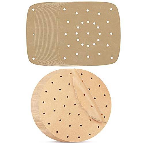 200 Stück Luftfritteus Papier, Dim Sum Papier, Backpapier Perforiertes Bambus Papier, für Luftfritteuse, Kochen, Backen, Dämpfen von Dessert, Dampfgaren von Brot