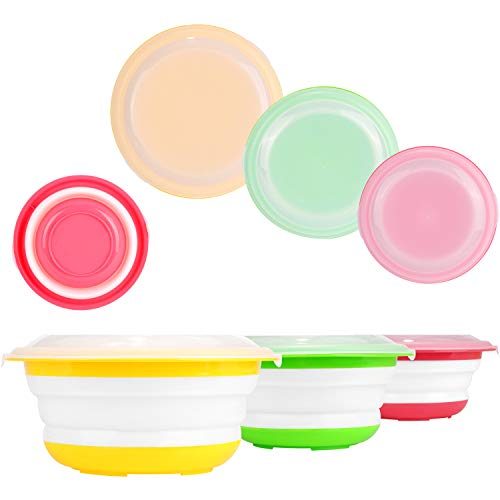 Waflyer - Set di 3 ciotole da picnic pieghevoli con coperchio, in silicone senza BPA, per campeggio, escursionismo, cucina, 1400 ml + 750 ml + 400 ml (verde+giallo+rosso)
