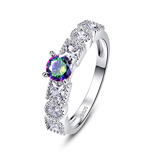 PAKULA 925 Sterling Silver Women Round Simulated Multicolored Gemstone Ring Band Mystic Fire Rainbow Topaz Princess Cut CZ Wedding Stackable Size 8