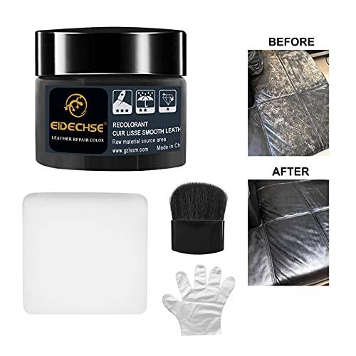 Aiooy Crema reparadora de Cuero,Professional para Kit de Reparación de Cuero 50ml, Restaurador de Color de Cuero Adecuada para Sofás de Cuero, Asientos de Cuero para el Automóvil y más (Negro)