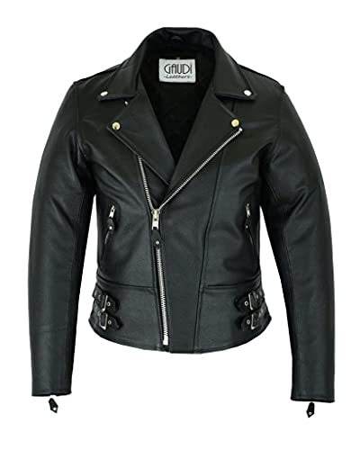 Gaudi-Leathers Herren Lederjacke Brando Leder Jacke Rindleder Biker Motorrad schwarz Lange Version XL