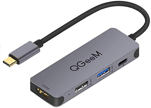 USB C Hub, QGeeM 4-in-1 USB C Adapter with 4K USB C to HDMI Hub,100W Power Delivery,USB 3.0,Thunderbolt 3 Multiport Hub Compatible with MacBook Pro, XPS, iPad Pro,More Type C Devices
