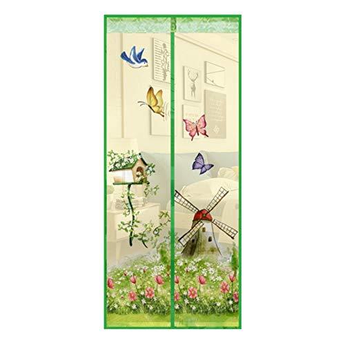 Hogar cortina de mosquitera puerta de pantalla magnética impresión de dibujos animados patrón de banda magnética cierra automáticamente la cortina de malla A5 W100xH210