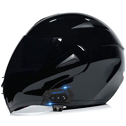 Bluetooth Modular Motorcycle Helmet Flip Up Motorbike Helmet Double Sun Visor Full Face Helmet Lightweight DOT/ECE Approved Crash Helmets for Adults Men Women D,L