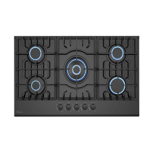 Empava 30 in. Gas Stove Cooktop 5 Italy Sabaf Sealed Burners NG/LPG Convertible in Black Tempered Glass, 30 Inch