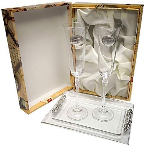 CRISTALERIA BOHEMIA 2 Copas de champán fuhcia para Novios, Bodas de Plata/Oro, Aniversarios, colección ALIANZAS, Aplique bilaminado. (ALIANZAS BADEJA Plata, Vidrio)