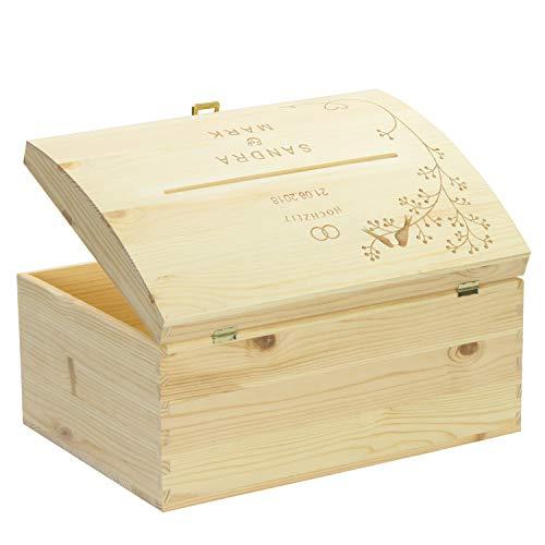 LAUBLUST Holztruhe mit Schlitz zur Hochzeit - Vogel-Pärchen - Personalisierte Geschenkkiste - 35x25x19cm, Natur, FSC® - 4