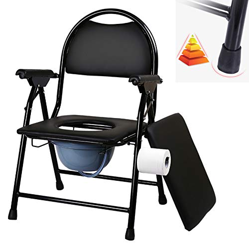 Commode Chair Folding Hand Paper Holder, Toilet Chair, Disabled Mobile Toilet, with Cover + Armrest + Backrest, Home/Hospital/Outdoor/Travel (Black)