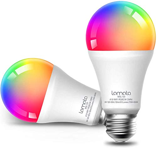 Lampadina Wi-Fi Intelligente Lomota, Compatibile con Alexa e Google Assistant, LED 9W Dimmerabile Multicolore A19 E27 Smart Bulb 2700K-6500K RGBCW, 2 Pezzi