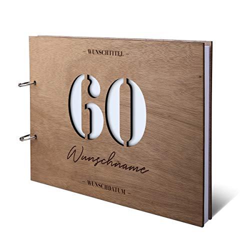 Runder Geburtstag Gästebuch Okoume Holzcover lasergeschnitten mit individueller Gravur inkl. 144 Naturpapier Seiten DIN A4 quer 302 x 215 mm - 60 Jahre