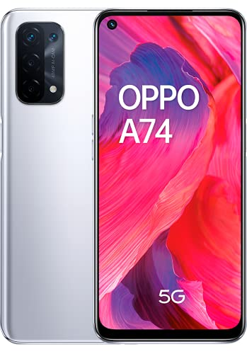 "OPPO A74 5G - Pantalla 6,49"" (FHD+ 90Hz, 6 GB RAM+ 128 GB Almacenamiento, Qualcomm Snapdragon 480 5G, Cuádruple cámara 48+8+2+2 MP, 5000 mAh con Carga rápida de 18 W) Plata [Versión ES/PT]"