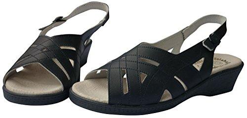 Wörishofer Fußbett Damen Sandale Größe 37-41 (H) (38, blau)