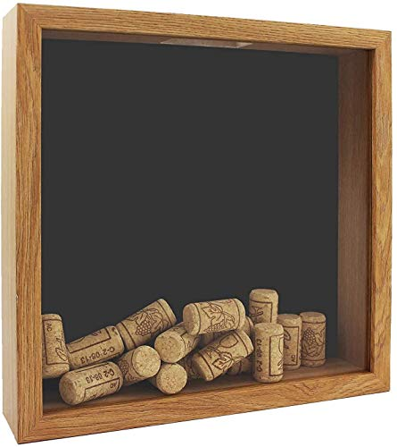 Space Art Deco, 10x10 Shadow Box Display Case - Top Loading Wood Frame - Drink Cap,Ticket Stubs, Airline Tickets,Stamps and More Holder/Collector - Wall Mounting - Swivel Tabs (10x10,Brown)