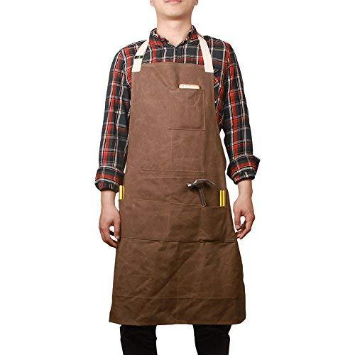 Hense Unisex Schwere Arbeitsschürze Gartenschürze aus gewachstem Segeltuch mit wasserdichter Funktion weich und belüftet für Küche Garten Keramik Werkstatt Garage und mehr (HSW-065) Kaffee