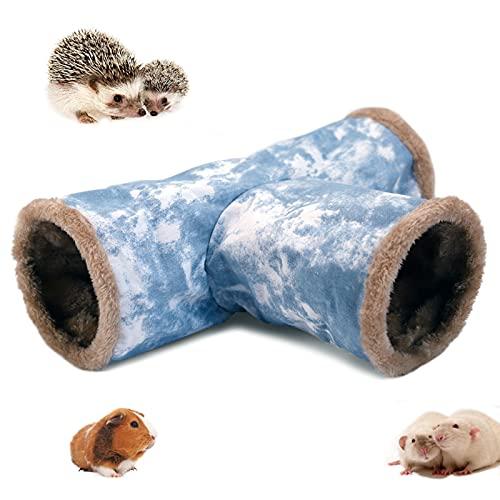 LeerKing Meerschweinchen Kuscheltunnel 3 Röhren Spieltunnel Leinwand Faltbar Innen Plüsch Tunnel Käfig zubehör mit Haken für Frettchen Degus Chinchillas Igel Nager