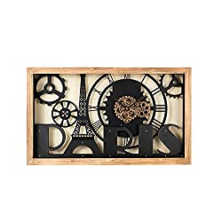Glitzhome 30 L Industrial Metal Gear Wall Clock, Wood Eiffel Tower Silhouette Vintage Wall Clock for Livingroom or Office Decoration (Without Glass)