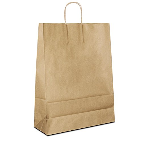 50 x Papiertragetaschen braun 32+12x41 cm | stabile Papiertüten | Beutel Kordelhenkel | Papiertaschen Mittel | Paper Bag | HUTNER