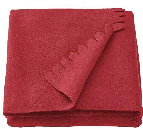 Ikea Polarvide - Manta para sofá (forro polar, 130 x 170 cm, 2 unidades), color rojo
