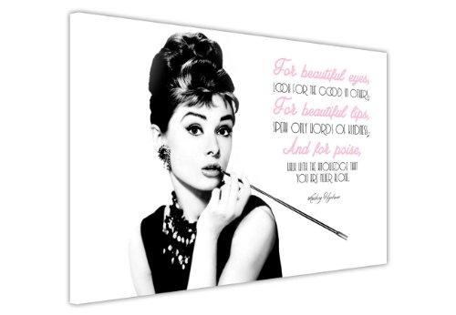 Leinwanddruck, Motiv: Audrey Hepburn mit Zitat (in englischer Sprache), canvas holz, 7- 30