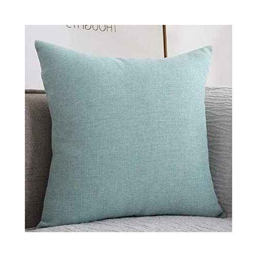 YIAO Llanura de algodón de Lino del Amortiguador del sofá Grueso Cuadrado Almohada Color sólido de Lino de la Almohadilla de la Sala Volver Almohada Cojín,Light blue-50x50 (Pillowcase)